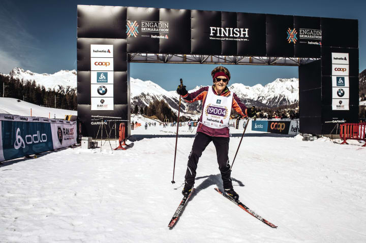 Die Französin Françoise Stahel beim Engadin Ski-Marathon. Bild © Schweiz Tourismus / Lorenz Richard